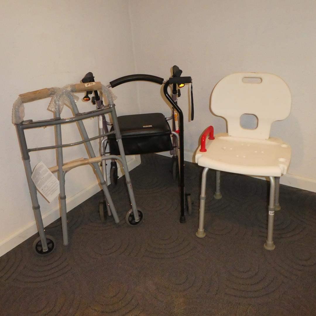 Lot # 98 - Folding Walker, Rolling Walker w/Seat Storage, Adjustable Cane & Bath Seat (main image)