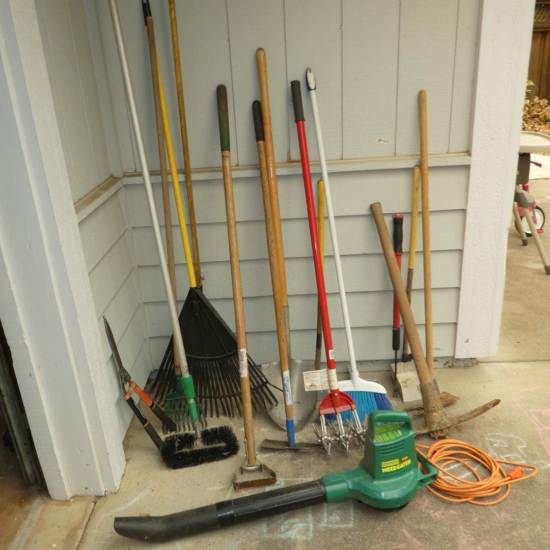 Lot # 105 - Electric Blower, Extension Cord & Yard Tools (main image)