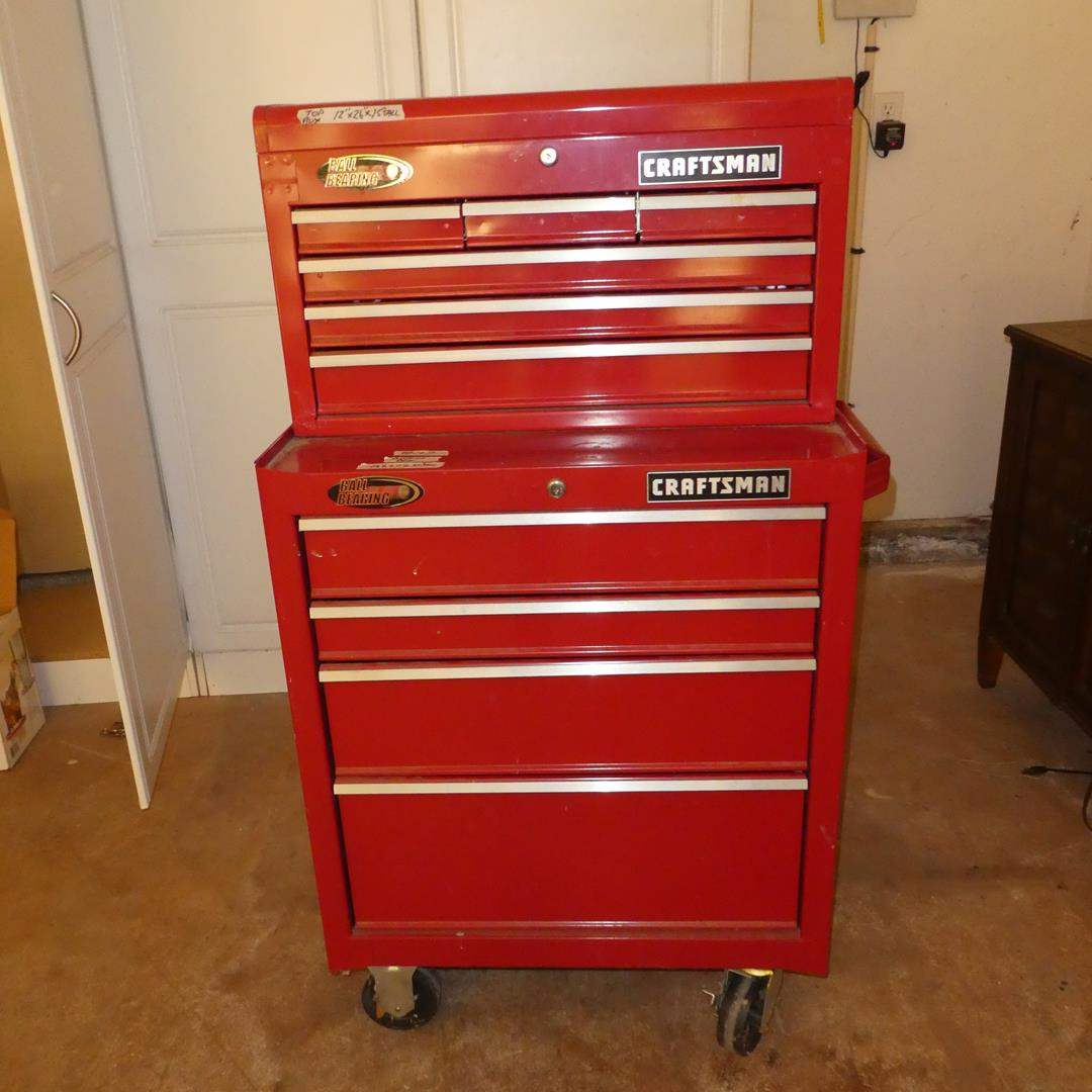 Lot # 107 - 2-Piece Craftsman Tool Chest on Wheels & Assorted Tools (No Keys) (main image)
