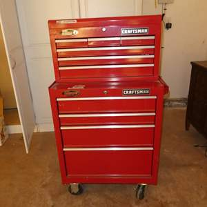 Lot # 107 - 2-Piece Craftsman Tool Chest on Wheels & Assorted Tools (No Keys)