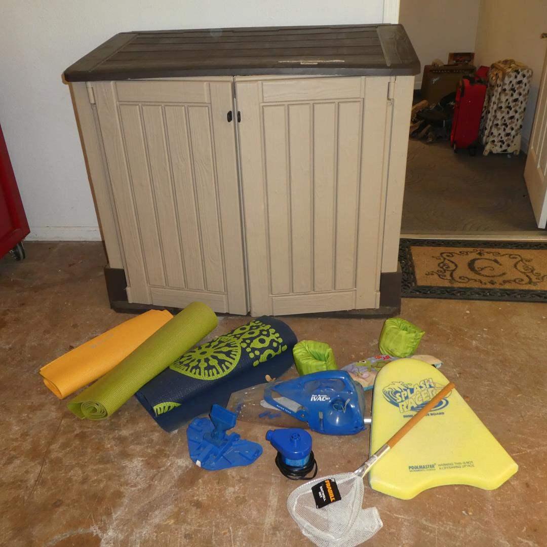 Lot # 108 - Plastic Storage Shed, Sun Bathing Matts & Pool Supplies (main image)