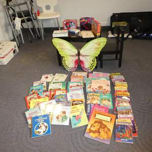 Lot # 111 - Kids Small Wooden Table w/Chair, Metal Butterfly Wall Hanging, Lunch Boxes & Many Children's Books