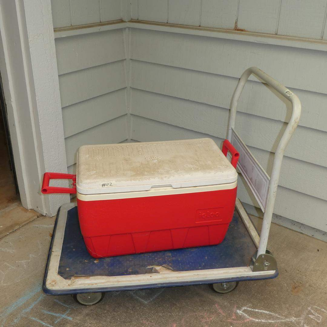 Lot # 112 - Ice Chest & Rolling Cart (main image)