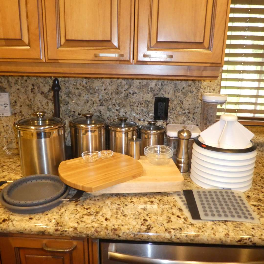 Lot # 3 - Stainless Steel Canisters, Cutting Boards, OXO Good Grips Lazy Suzans, Paper Towel Holder and More! (main image)