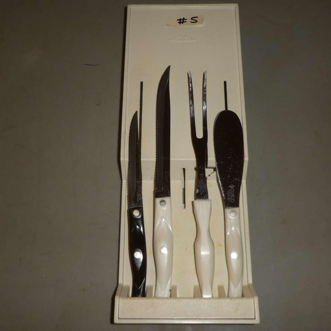 Lot # 5 - Cutco Pearl Handle Petite Carver, Carving Fork & Spatula Spreader w/  Brown Homemaker Trimmer (main image)