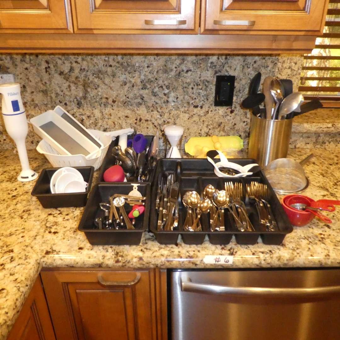Lot # 6 - Kitchen Lot- Misc. Flatware, Pillsbury Hand Held Blender, Corn Holders & Other Misc. Utensils  (main image)