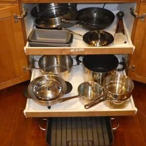 Lot # 7 - Emeril Pots & Pans (Missing Lids), Colanders, Roasting Pan, Bread Pans & More!