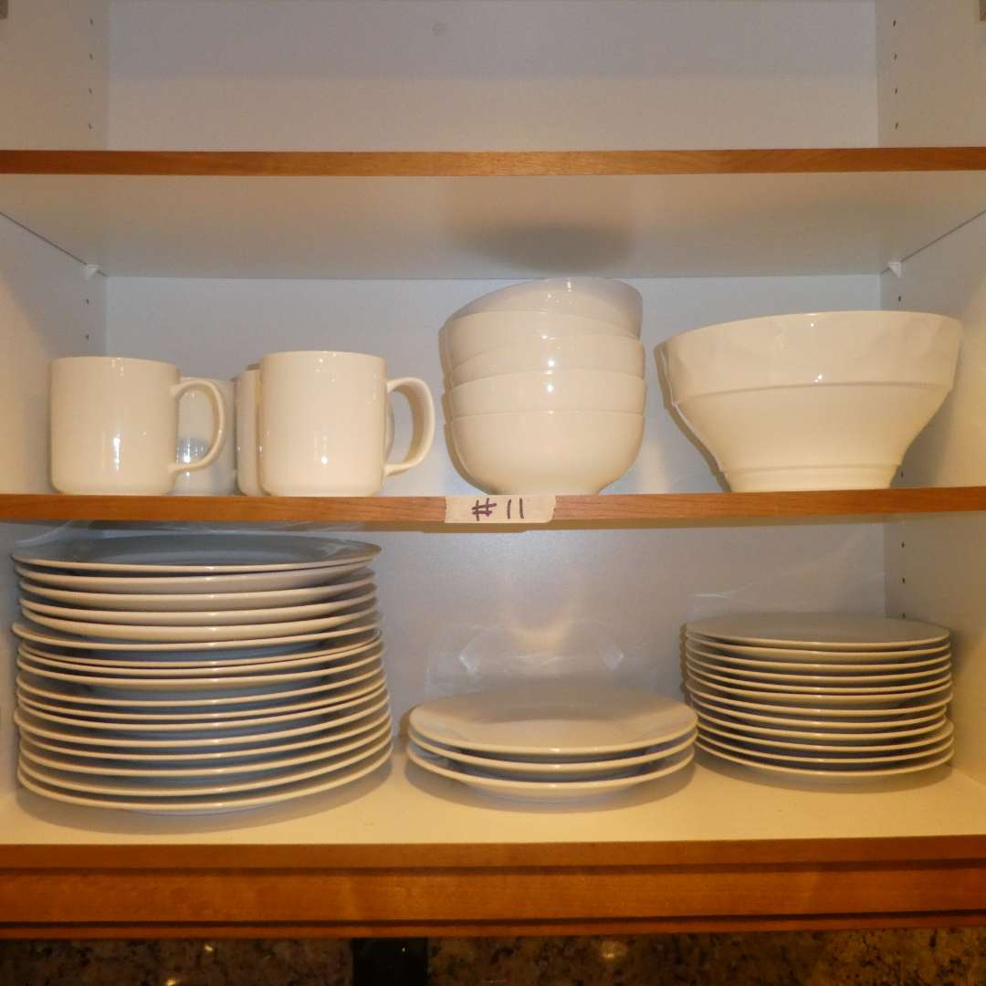 Lot # 11 - Quality White Cups, Bowls and Plates (Various Sizes) (main image)