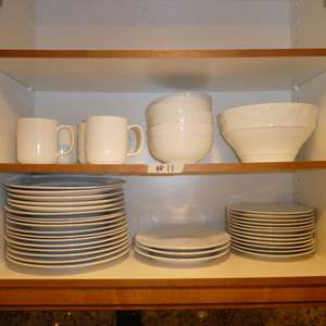 Lot # 11 - Quality White Cups, Bowls and Plates (Various Sizes)