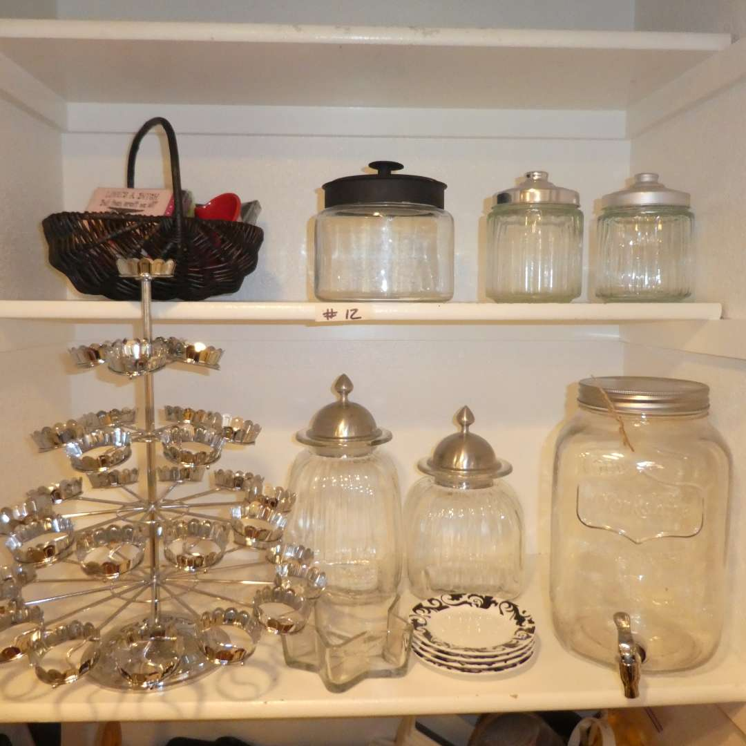 Lot # 12 - Adorable Glass Canisters, Cupcake Stand & Mason Jar Drink Dispenser  (main image)