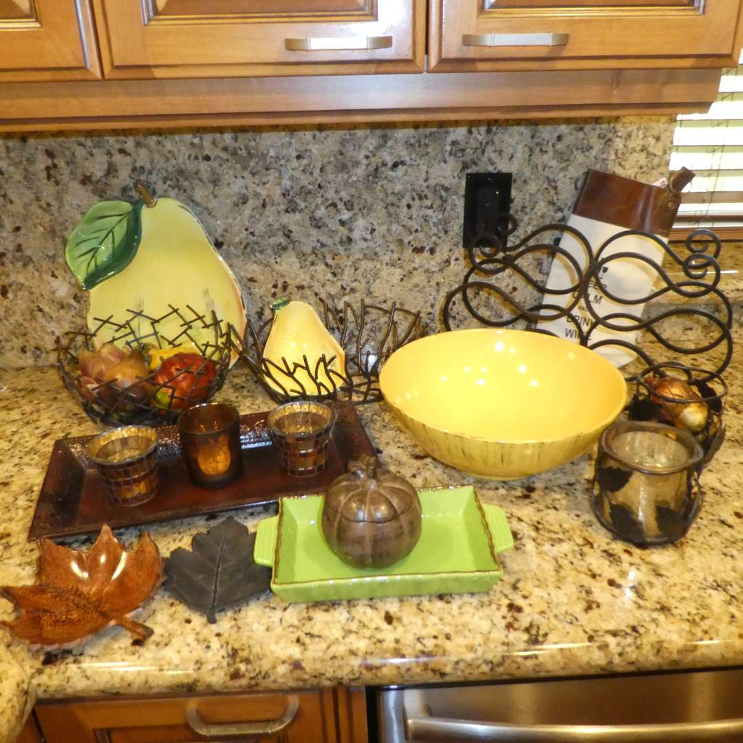 Lot # 13 -  Kitchen/ Dining Decor, Large Severing Bowl, Pear Serving Dishes and Metal Wine Rack (main image)