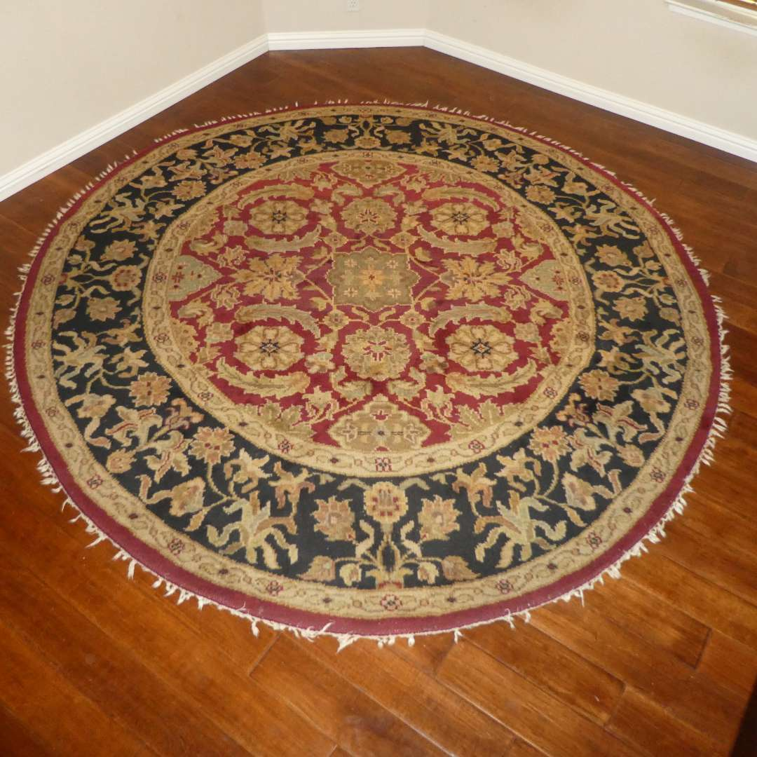 Lot # 14 -  96 in Diameter Wool Area Rug (Missing Parts of Outer Tassels/ Fringe) (main image)