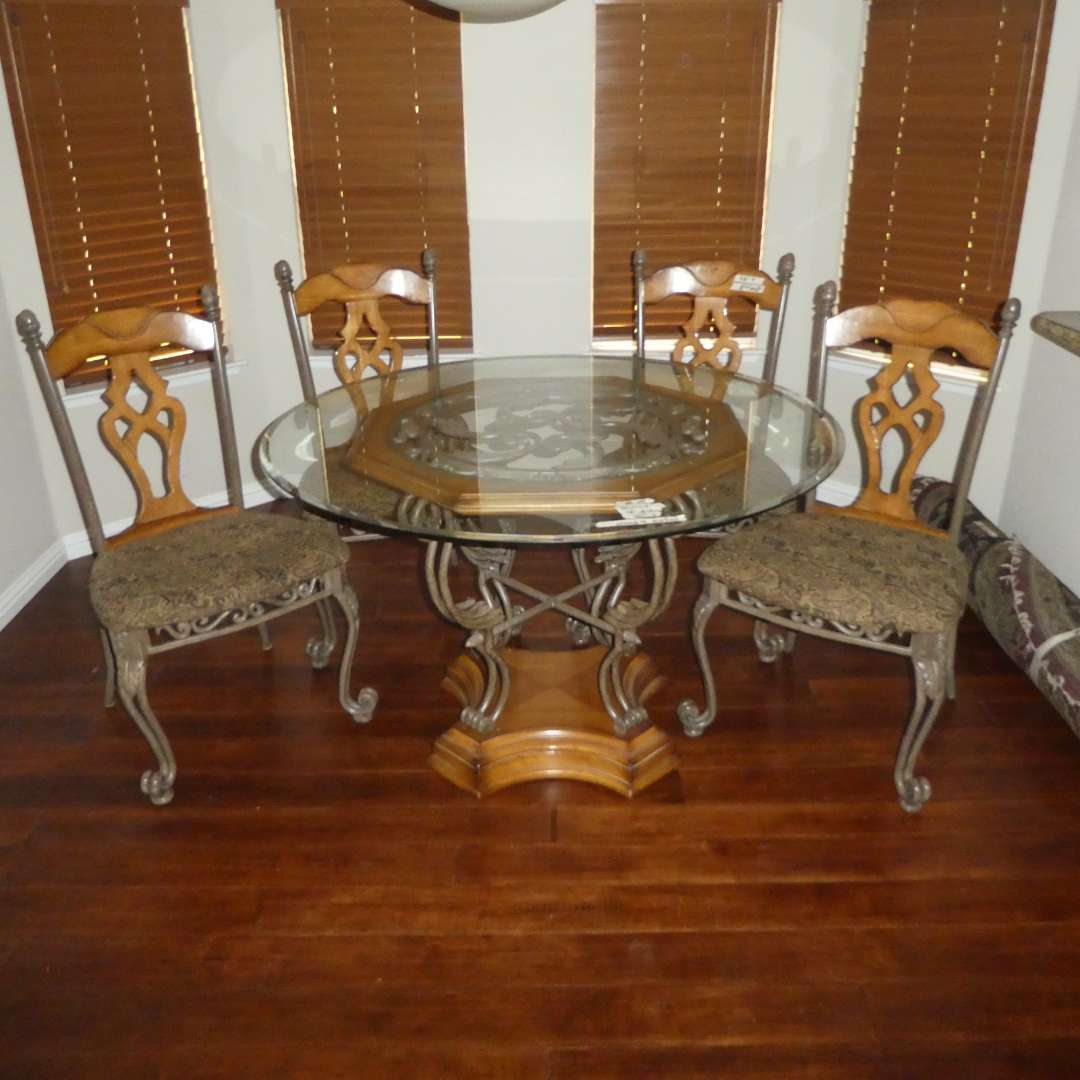 Lot # 15 - Gorgeous Round Dining Table w/ Beveled Glass Top & Four Cushioned Chairs (Ashely Furniture, Metal & Wood) (main image)