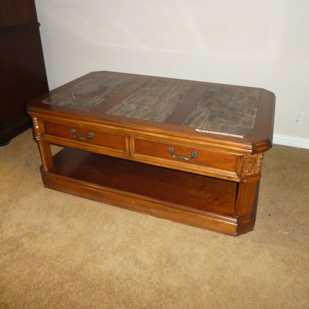 Lot # 16 - High Quality Coffee Table On Wheels (Dovetail Drawers) (Has Some Wear) (main image)