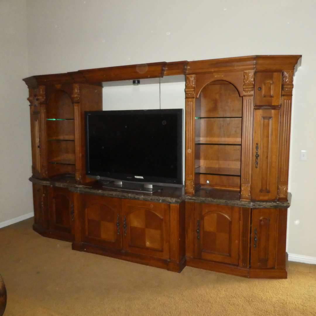Lot # 22 - High Quality Aspen Furniture Lighted TV Entertainment Wall Unit (main image)