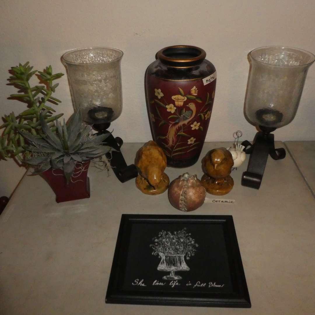 Lot # 24 - Ornate Ceramic Vase, Pair of Ceramic Decorative Bird, Artificial Succulents & Two Candle Holders (main image)