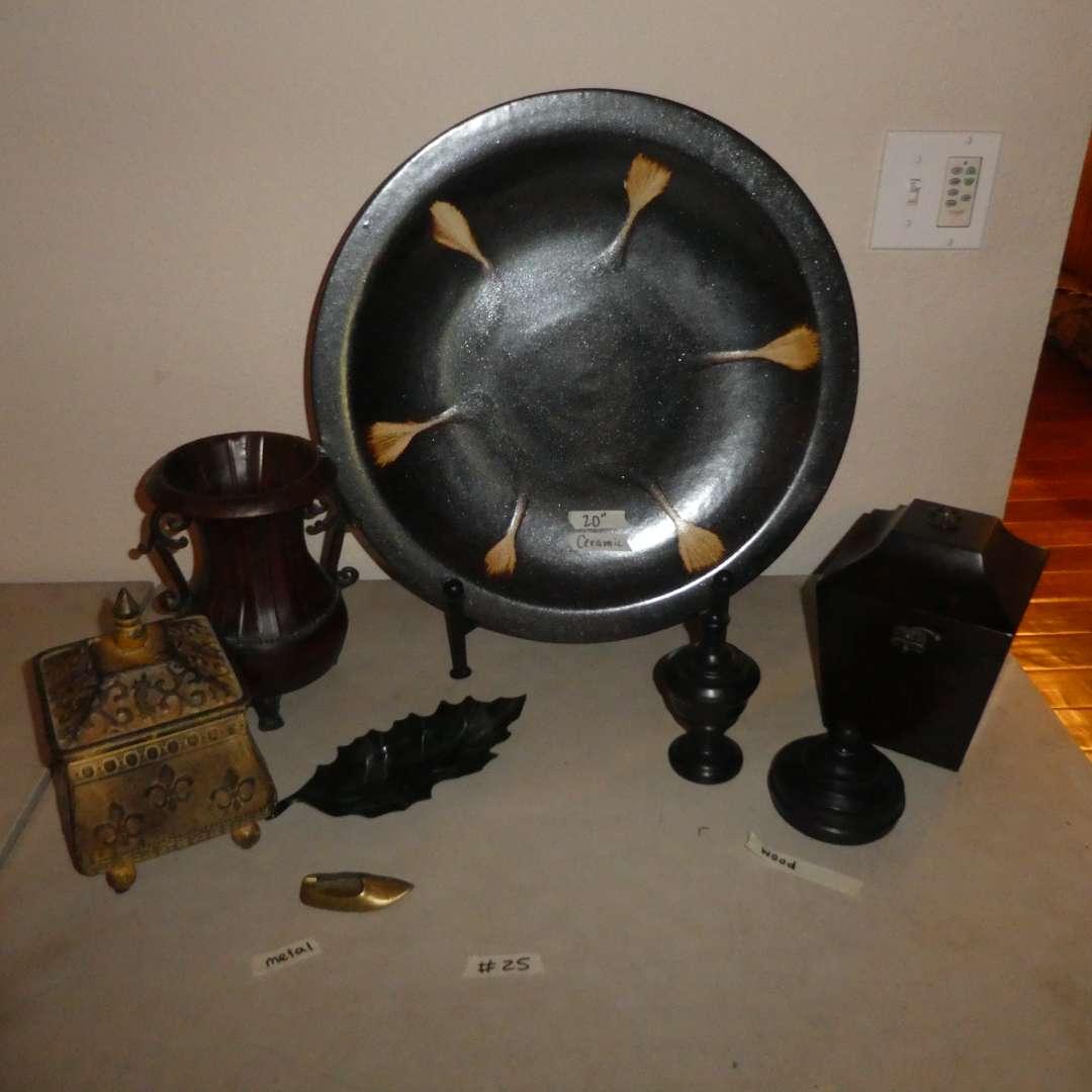 Lot # 25 - Decorative Ceramic Plate, Metal Home Decor & More (main image)