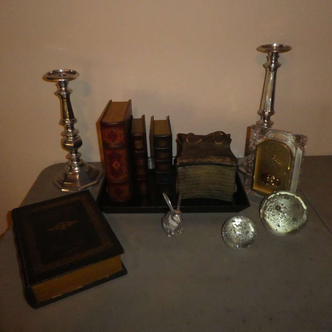 Lot # 27 - Hide Away Book Boxes, Candle Holders, Decorative Tray, Battery Operated Seiko Clock and More! (main image)