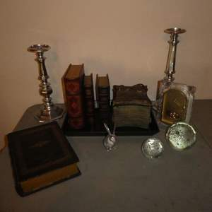 Lot # 27 - Hide Away Book Boxes, Candle Holders, Decorative Tray, Battery Operated Seiko Clock and More!