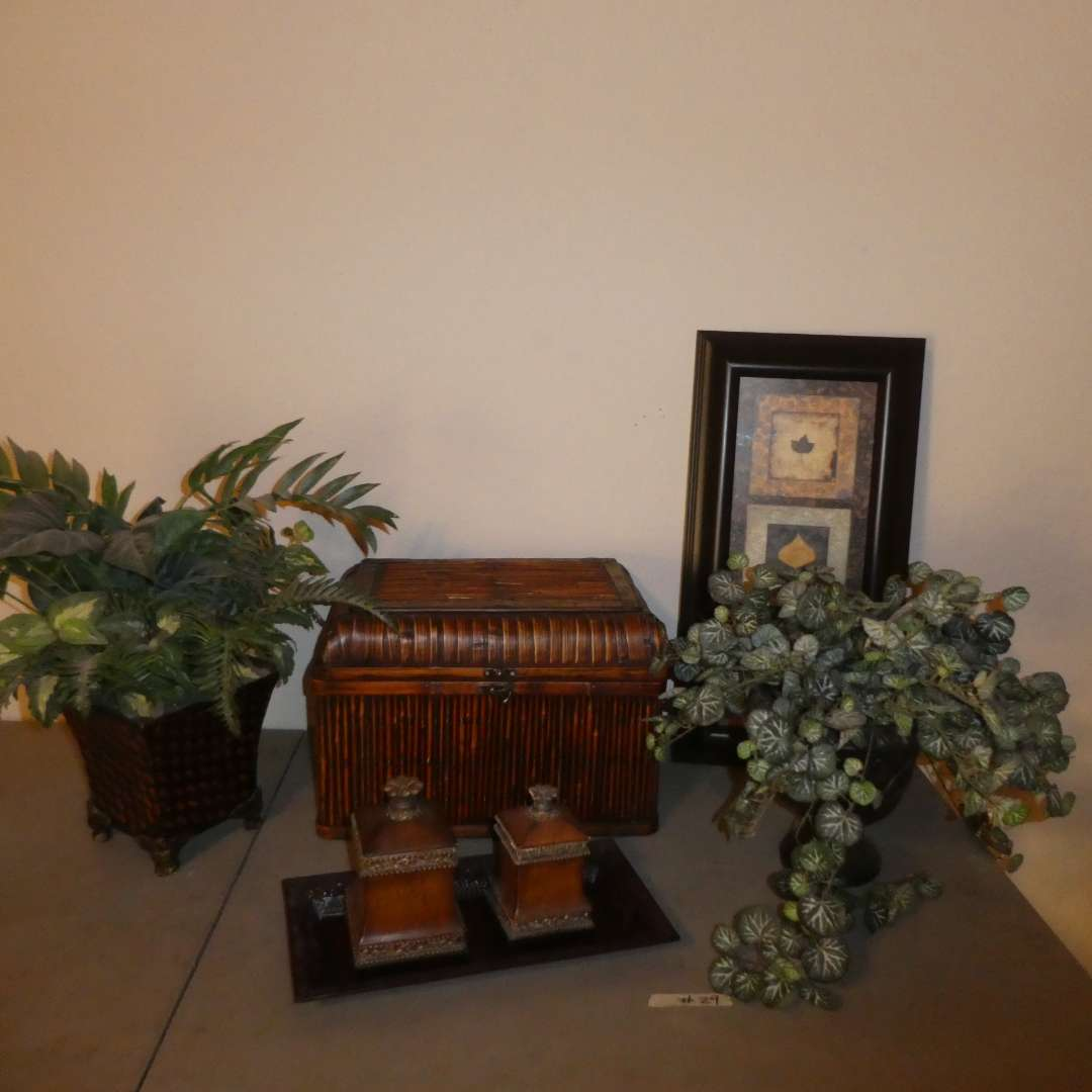 Lot # 29 - Bamboo Looking Storage Box, Artificial Plants, Leaf Study Print and More (main image)