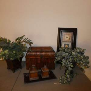 Lot # 29 - Bamboo Looking Storage Box, Artificial Plants, Leaf Study Print and More