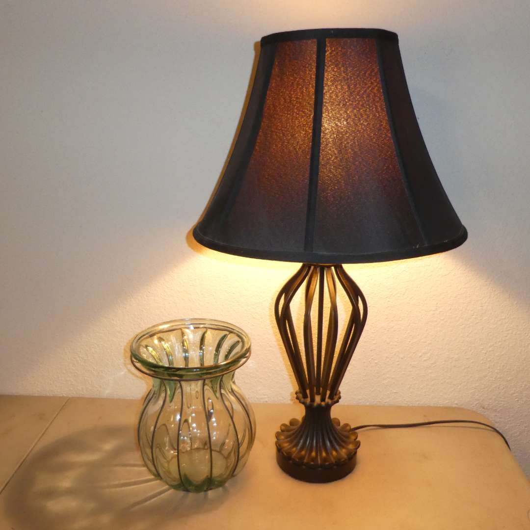 Lot # 30 - Cute Black Table Lamp & Decorative Glass Vase  (main image)