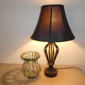 Lot # 30 - Cute Black Table Lamp & Decorative Glass Vase