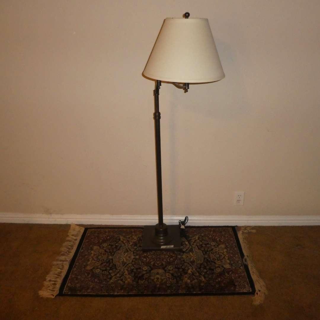 Lot # 31 - Floor Lamp w/ Adjustable Arm & Small Rug (Tassels/Fringe Has Tears) (main image)