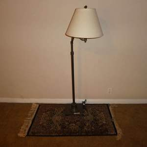 Lot # 31 - Floor Lamp w/ Adjustable Arm & Small Rug (Tassels/Fringe Has Tears)