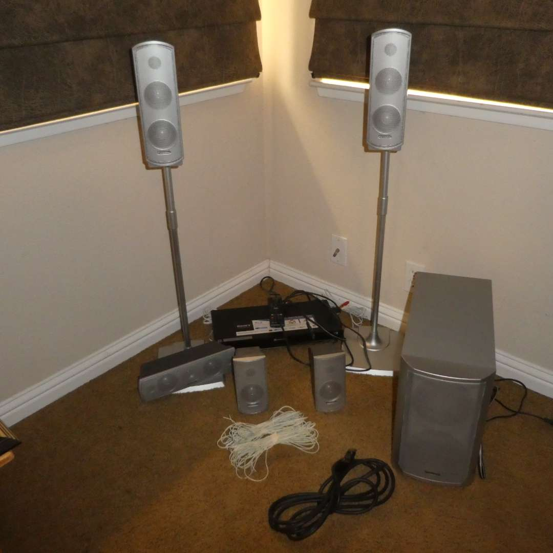 Lot # 32 - Panasonic Speaker System & Subwoofer w/ Sony DVD Player (Unable to Be Tested, Was Set Up As If Working) (main image)