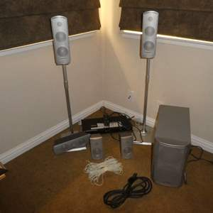 Lot # 32 - Panasonic Speaker System & Subwoofer w/ Sony DVD Player (Unable to Be Tested, Was Set Up As If Working)