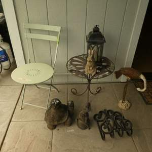 Lot # 34 - Metal Outdoor Bistro Table, Vintage Style Folding Chair & A Variety of Yard Art