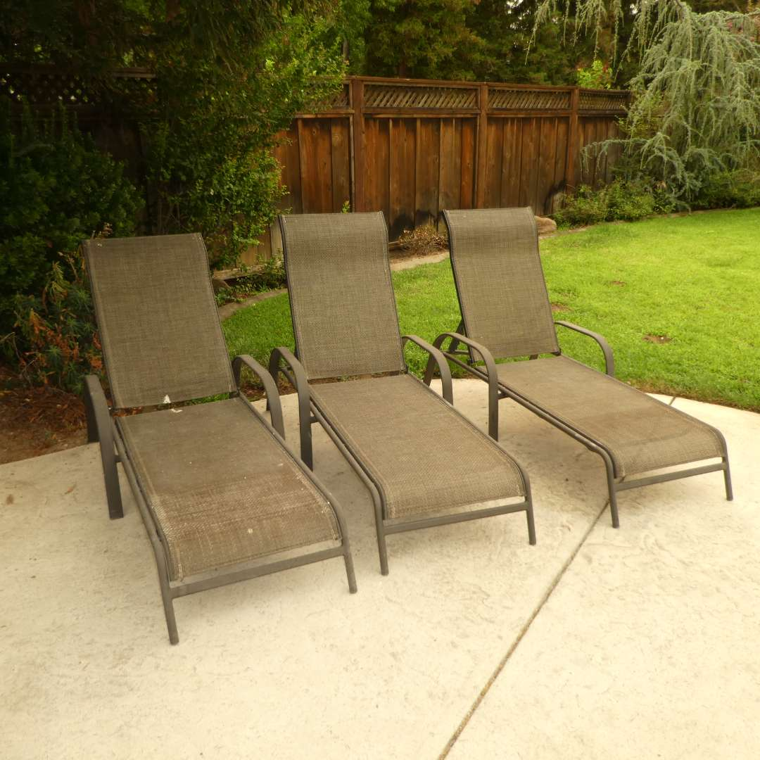Lot # 37 - Three Outdoor All Weather Patio Loungers  (main image)
