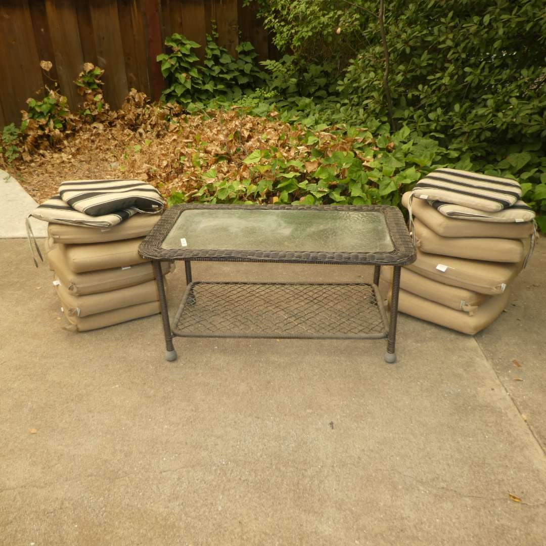 Lot # 38 - Outdoor Coffee Table w/ Glass Top & Outdoor Chair Cushions (Tan Cushion Look to Be New or Very Lighted Used) (main image)