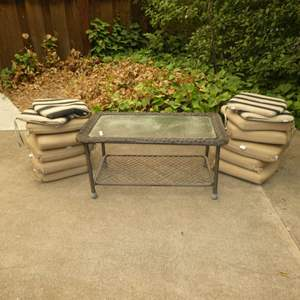 Lot # 38 - Outdoor Coffee Table w/ Glass Top & Outdoor Chair Cushions (Tan Cushion Look to Be New or Very Lighted Used)