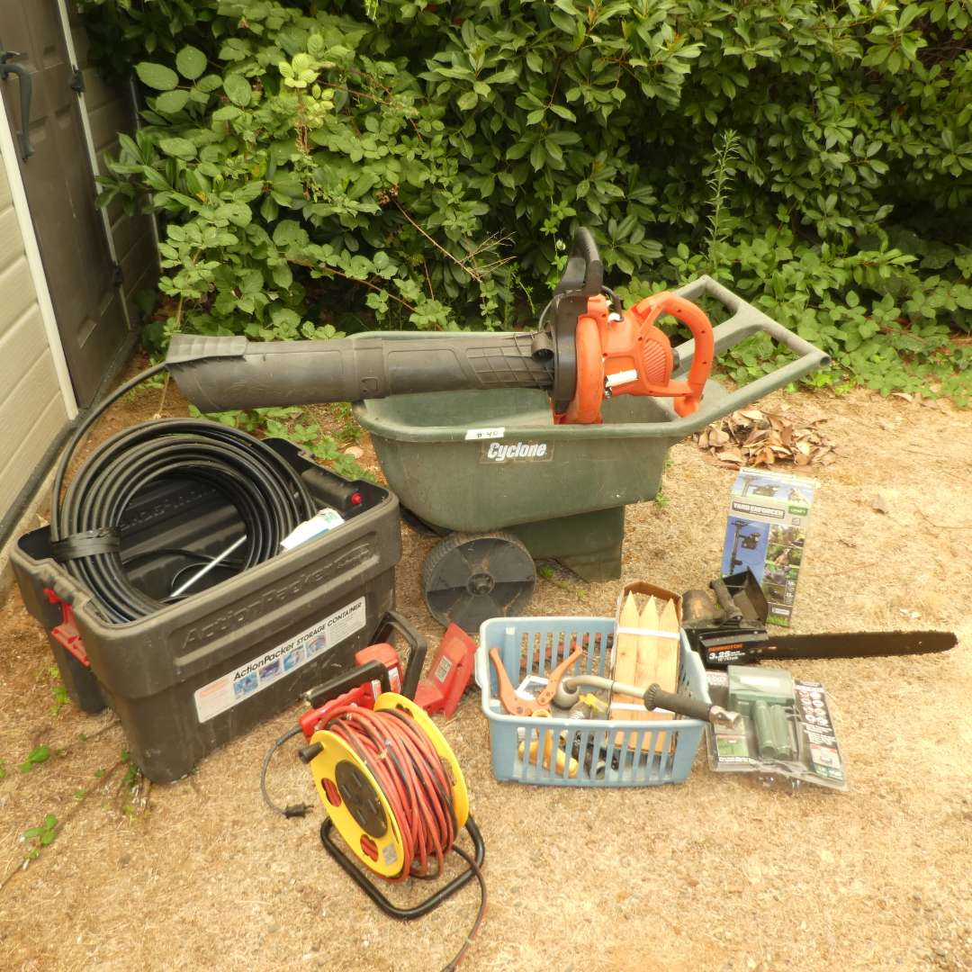 Lot # 40 - Home & Garden Lot - Wheelbarrow, Pest/Animal Control Items, Roll Up Extension Cord, Electric Hedge Trimmer & Blower  (main image)