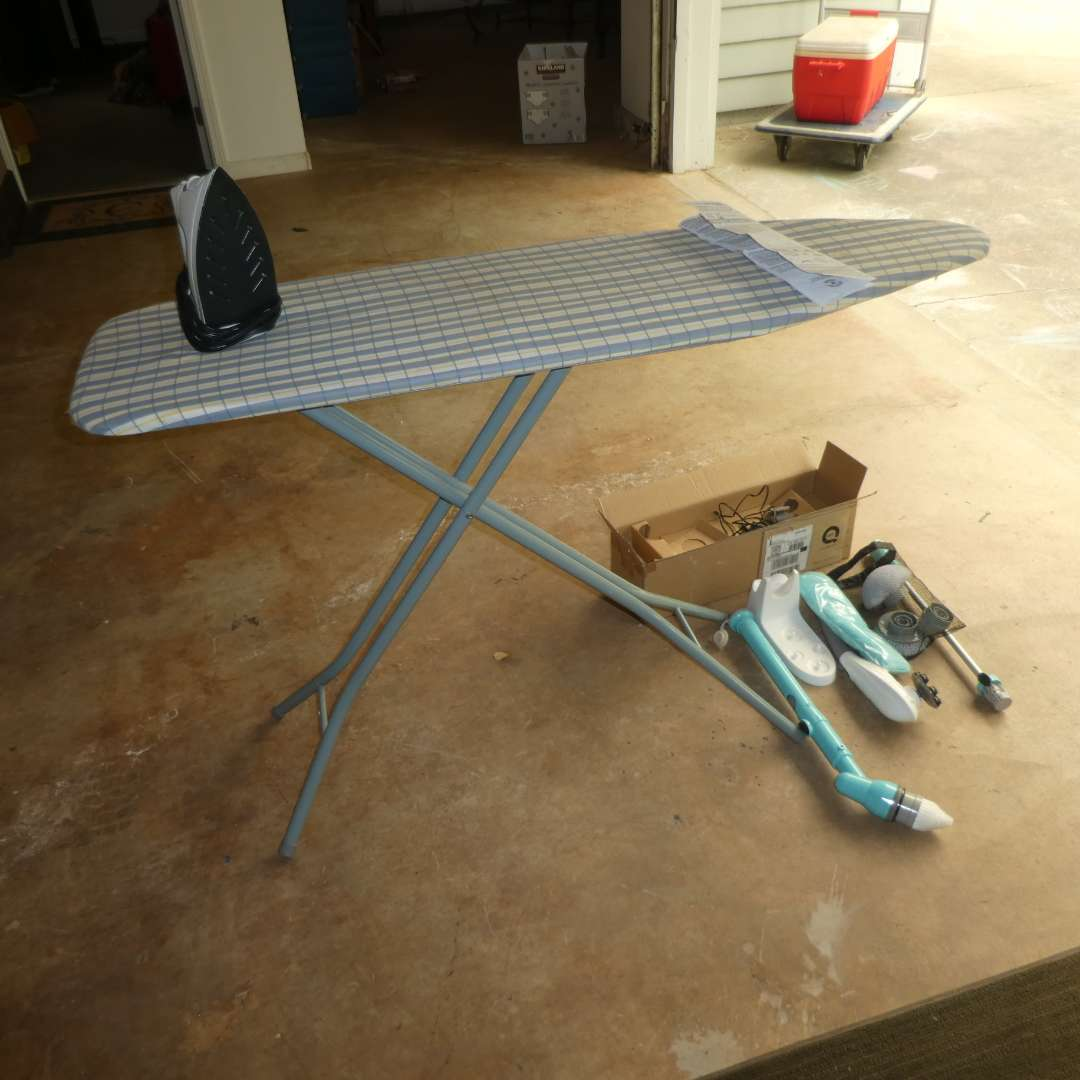 Lot # 43 - Folding Ironing Board, Oster iron & Tub and Tile Power Scrubber(Tile Scrubber Not Tested) (main image)