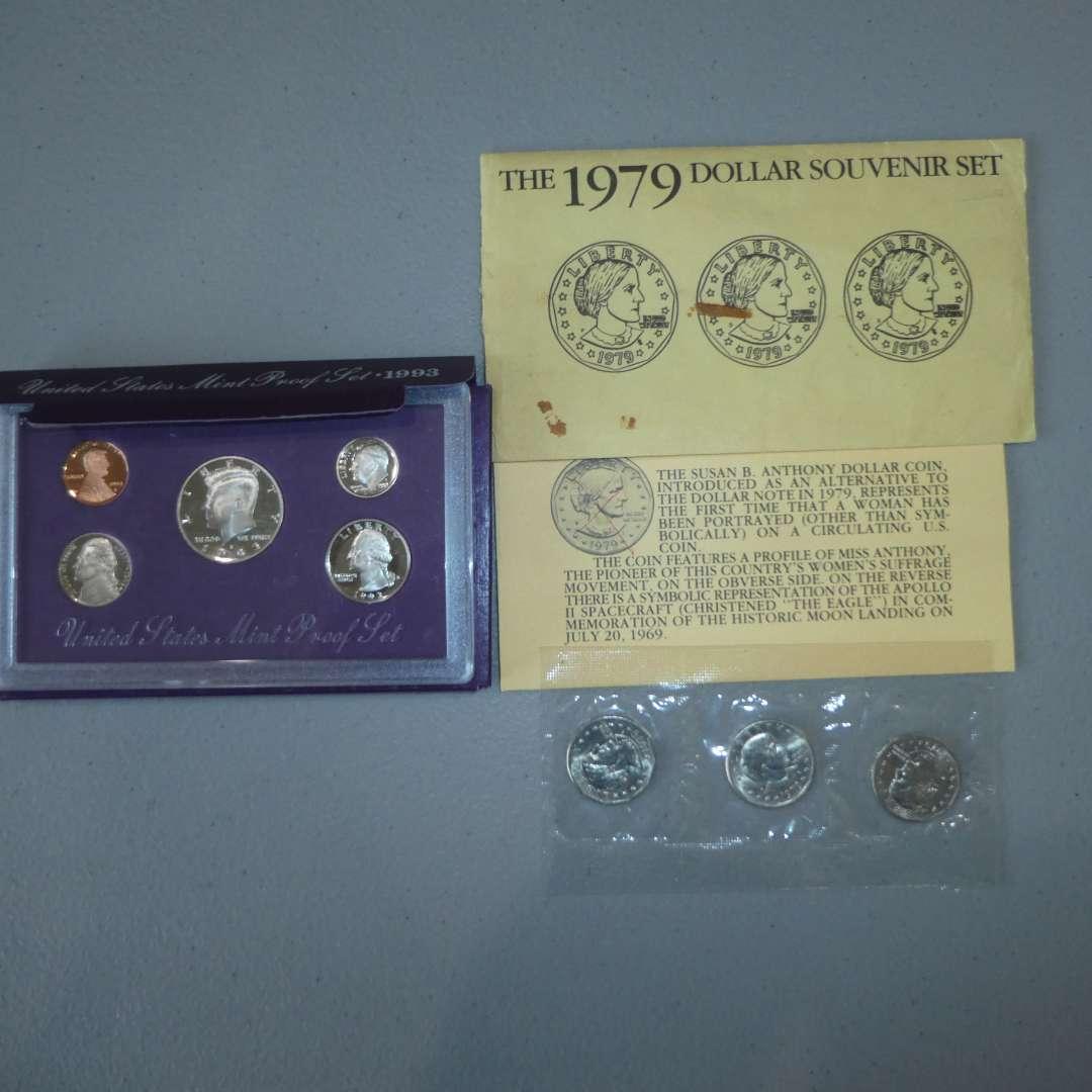 Lot # 1 -1993 US Mint Proof Set - 5 coin & Three (3) 1979 US Dollar (Susan B Anthony) (main image)