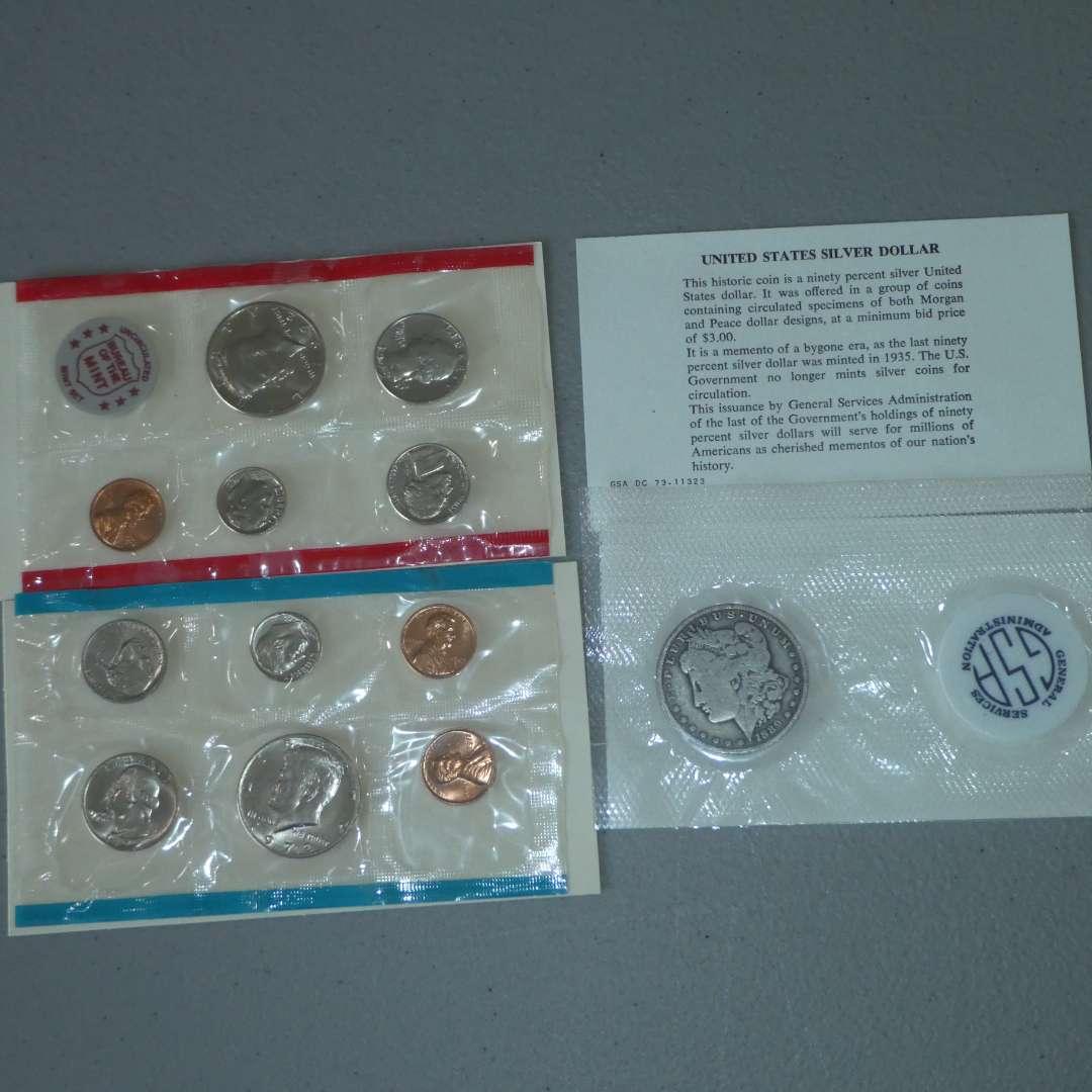 Lot # 4 - Two (2) 1972 US Uncirculated Set & One (1) 1889-O Morgan Silver Dollar (main image)