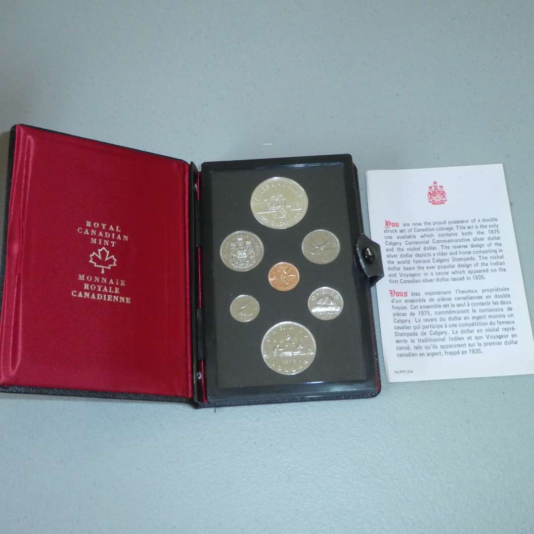 Lot # 7 -1975 Royal Canadian Proof Set with Silver Dollar, Double Struck set (main image)