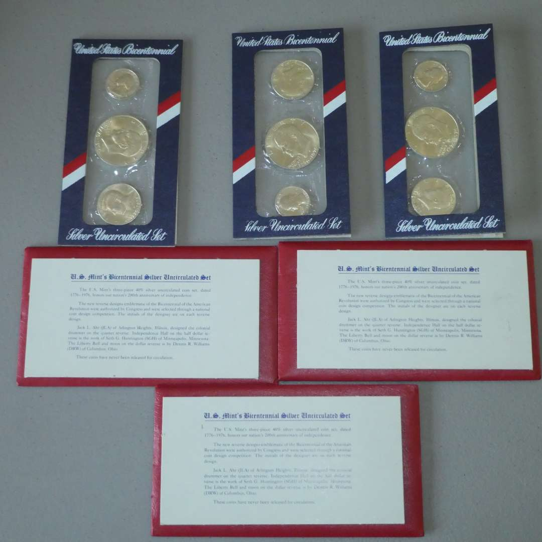 Lot # 8 - Three (3) 1776 US Mint Bicentennial Silver Uncirculated Set (main image)
