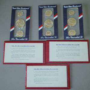 Auction Thumbnail for: Lot # 8 - Three (3) 1776 US Mint Bicentennial Silver Uncirculated Set
