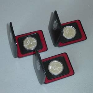 Lot # 9 - Three (3) 1975 Royal Canadian Silver Dollar Coin w/ Case (Calgary)