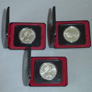 Lot # 10 - Three (3) 1975 Royal Canadian Silver Dollar Coin w/ Case (Calgary)