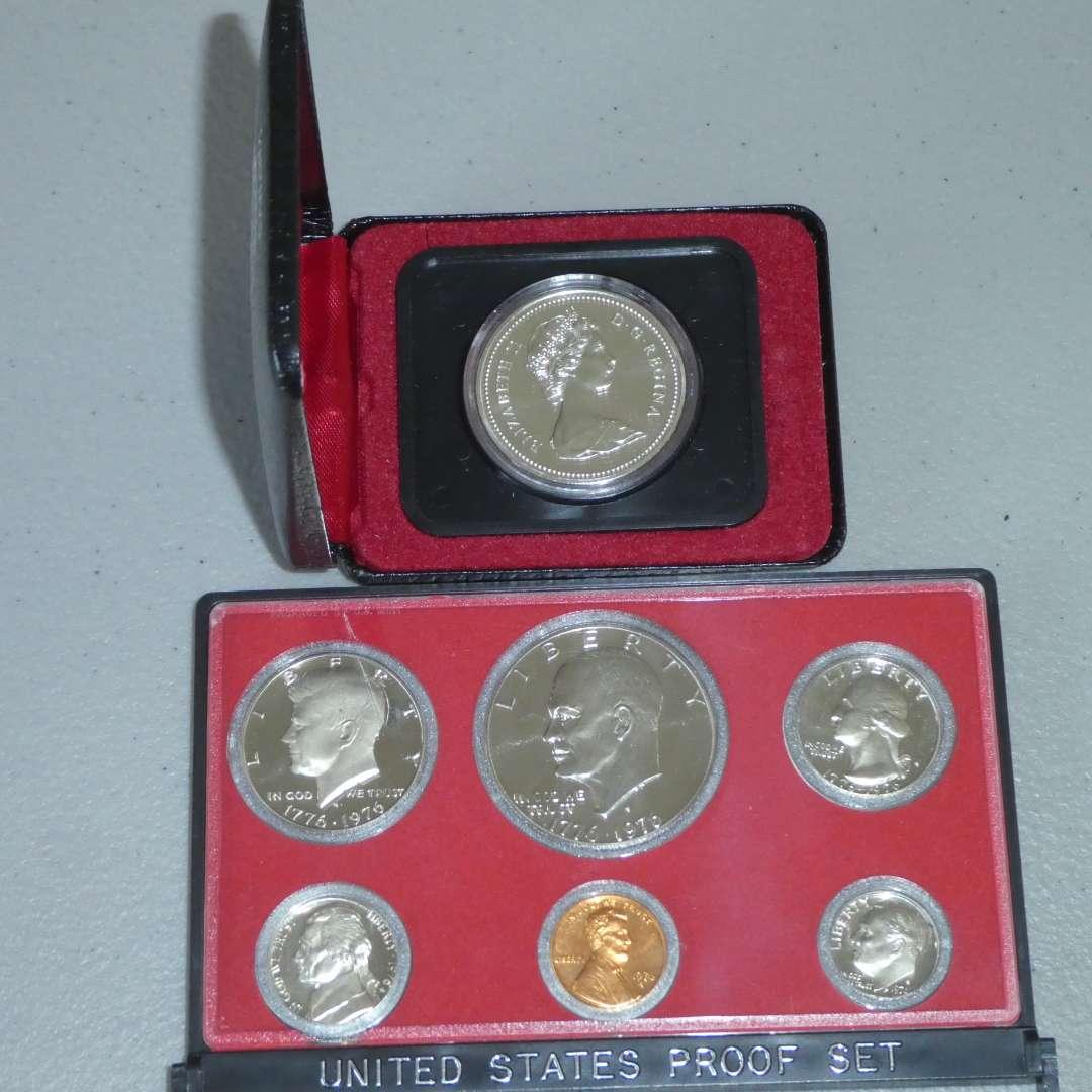 Lot # 11 -1976 US Proof Set w/ Ike Dollar (case broken) & 1975 Royal Canadian Silver Dollar Coin w/ Case (Calgary) (main image)