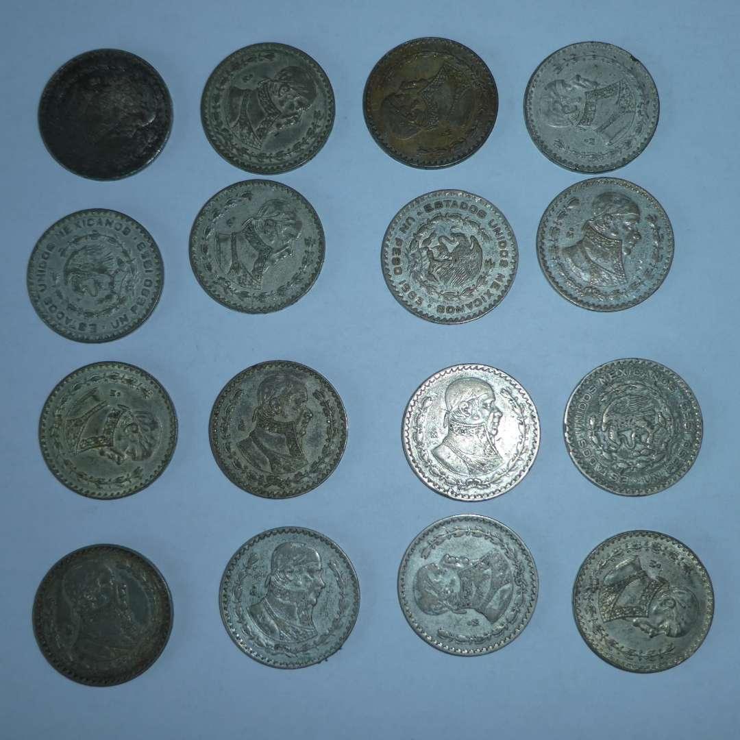 Lot # 12 -16 Mexican Silver Peso's (1958-1963) (main image)