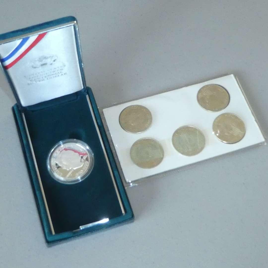 Lot # 16 -1990 US Mint Eisenhower Silver Dollar & 1822-1972 Sesquicentennial Commemorative Coins (main image)