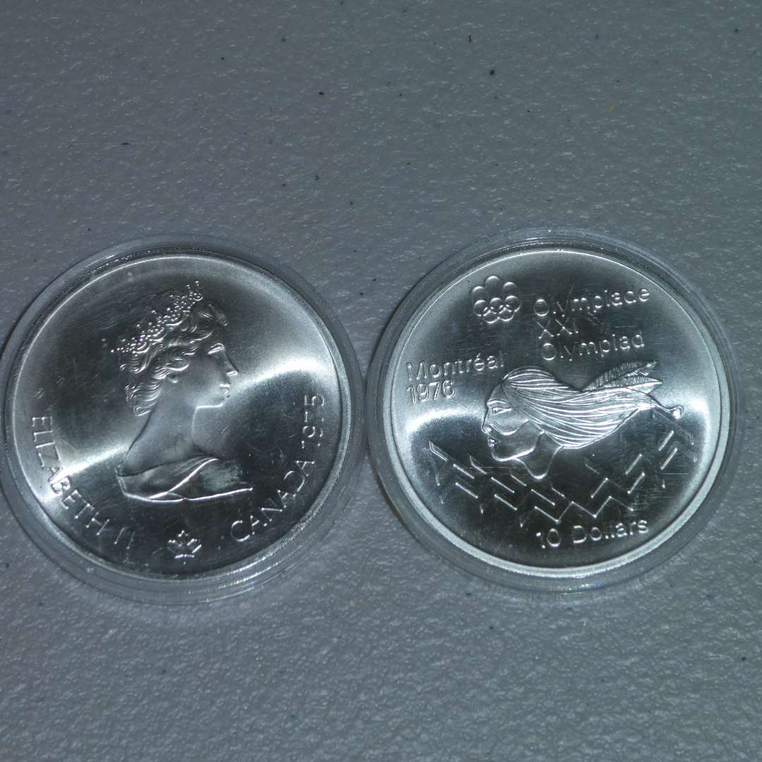 Lot # 20 - Two (2) Royal Canadian Mint 1975 Silver 10 Dollar Coin, Olympiad - Montreal (main image)