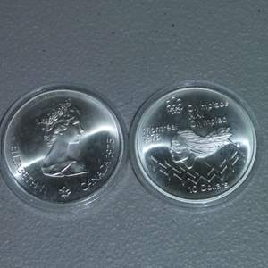 Lot # 20 - Two (2) Royal Canadian Mint 1975 Silver 10 Dollar Coin, Olympiad - Montreal