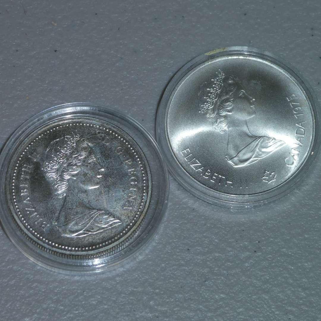 Lot # 24 -Royal Canadian Mint 1975 Silver 5 Dollar Coin, Olympiad - Montreal & 1972 Canadian Silver Dollar Coin (main image)